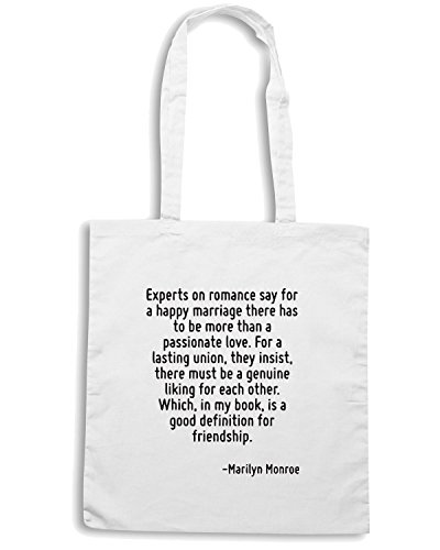T-Shirtshock - Borsa Shopping CIT0080 Experts on romance say for a happy marriage Bianco