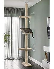 RuneSol Drapak dla kota, wysokość sufitu 240-288 cm, wysokość do sufitu, drapak stabilny, drzewko do wspinaczki, wysokie, wąskie, z regulacją wysokości, drapak dla kotów, mebel dla kotów, wieża do drapania
