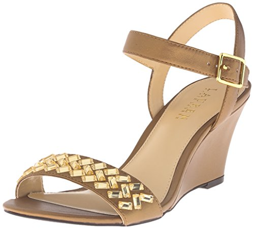 Lauren Ralph Lauren Women's Hessa Wedge Sandal, Gold Pearlized Nappa, 7.5 B US (Ralph Lauren Gold Sandals)