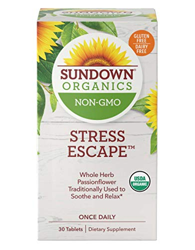 Sundown Organics Stress Escape Stress Relief Supplement for Occasional Stress with Passion Flower,* Gluten Free, 100% Non-GMO, 30 Tablets