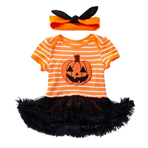 Baby Girls Halloween Clothes,Leegor Infant Toddler Pumpkin Bow Party Dress Clothes Dresses +Headband -