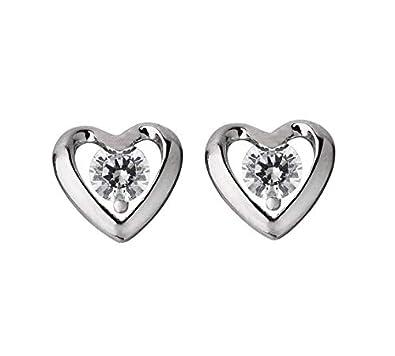 444063e3370259 Revere Platinum Plated Silver CZ Heart Stud Earrings: Amazon.co.uk:  Jewellery