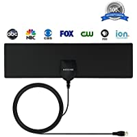HDTV Antenna, MIESCHER Indoor Digital TV Antenna (1080P / VHF / UHF / 35 Miles Range) and 10ft Coaxial Cable, Free Local Channels for Life for HDTV / TV - Black