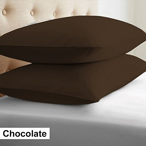 2-Piece- Euroshams ~ Solid Pattern 100% Pima Cotton 500 Thread- Count European Super Soft 2 PC Pillow Cases ( 26 x 26 Inch (66cm x 66cm ) , Chocolate) (Euro Shams Chocolate)