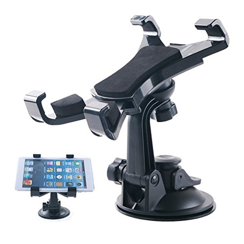 Car Windshield Dashboard Tablet Mount Holder, 360 Degree Rotation, TPU Suction Cup Viscosity Mount, Universal for Samsung Galaxy Tab/Ipad Mini/iPad Air 2/Air/4/3/2/iPad Pro 9.7/10.5/Amazon Fire HD/GPS