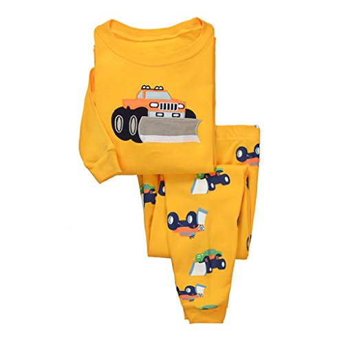 Dreamaxhp Truck Sleepwear Little Boys Cotton Pajama Set T Shirt   Pant Size 5T Yellow
