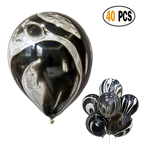 Black And White Striped Balloons (Mayen 40 Pcs 12 Inches Black Agate Marble Latex Balloons, Tie Dye Swirl Balloons Helium Balloons for Birthday Party)