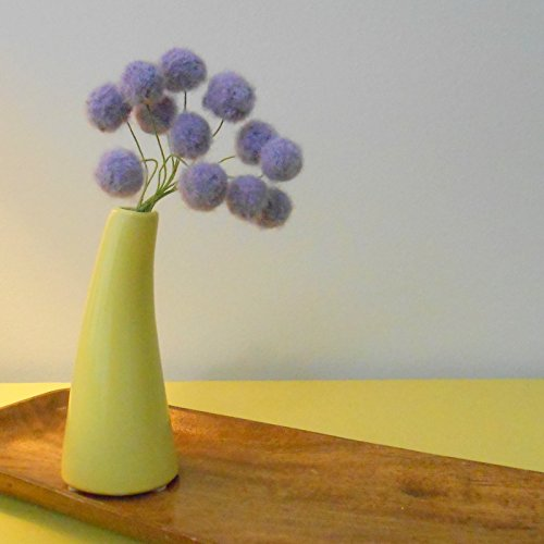 Purple Felt flowers - Lilac Lavender alpaca wool pom poms - Faux craspedia flower bouquet - Felt billy ball floral arrangement - Fuzzy felt balls