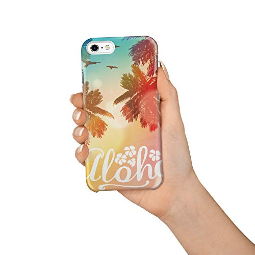 Durable Phone Case for iPhone 6/iPhone 6s, Aloha Hawaii Beach Coconut Tree Sunset Stylish Phone Shell Shockproof Protective Back Cover with Tempered Glass Screen Protector, Anti-Scratch