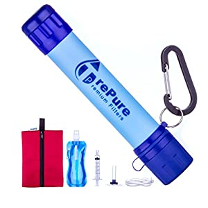 TrePure Water Filtration Straw System With 16 Oz Drinking Pouch & Carry Bag