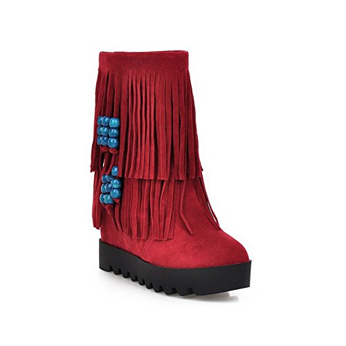 Suede Allhqfashion Boots Solid Imitated Women's Toe Low Heels Round Red top Closed High q648aq