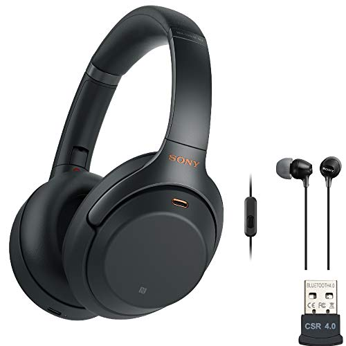 Sony WH-1000XM3 Wireless Noise-Canceling Over-Ear Headphones (Black, USA Warranty) with Sony in-Ear...
