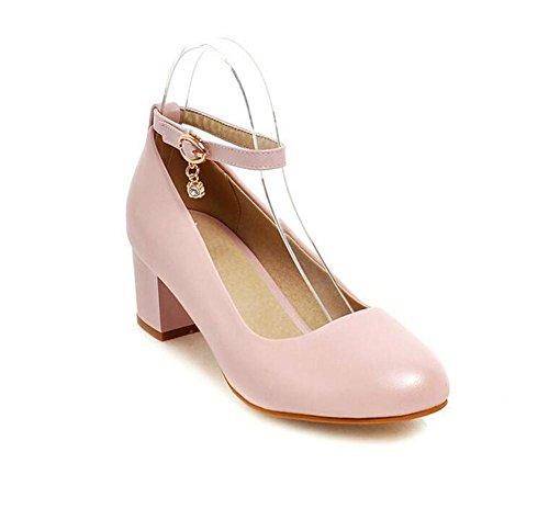 los del el de La cortan White Talón Dulces Mujeres Zapatos Redondo del Las Dedo PINK Primavera Otoño XIE Gruesos 39 Zapatos los 38 pie con y del Superficiales xtOxP