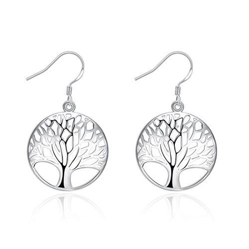 Runsmooth Tree Of Life Sterling Silver Plated Women Earrings Fashion Drop Dangle Earrings Studs Set  Color 1