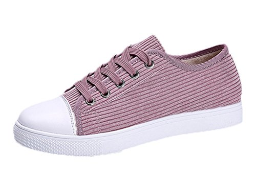 T&Mates Womens New Style Round Toe Lace-up Low Cut Fashion Sneakers Casual Flat Shoes (6 B(M)US,Pink)