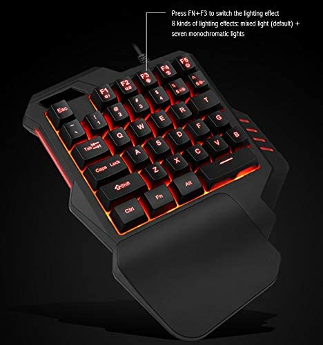 Romsion G30 Wired Gaming Keypad with LED Backlight 35 Keys One-Handed Membrane Keyboard for LOL//PUBG//CF G30 High Configuration RGB Version