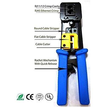 PETECH EZ-RJ45 Crimp Tool for RJ-11, RJ-12 and RJ-45