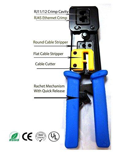 Rj 45 Rj11 Strip (PETECH EZ-RJ45 Crimp Tool for RJ-11, RJ-12 and RJ-45)