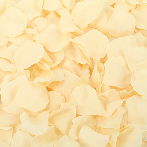 Koyal Wholesale Silk Rose Petals Confetti, Ivory, Bulk 1200-Pack Wedding Flowers Table Scatter, Rose Petal Aisle -
