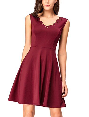 InsNova Women's Burgundy Cocktail Dresses Scalloped Pleated Ponte Fit and Flare (Teen Homecoming Dresses)