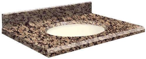 Brown Baltic Granite (Samson G2522-E5-E-B-1 Granite Vanity Top 25x22 with Single Undermount Biscuit Bowl 1-Hole Beveled Edge Baltic Brown)