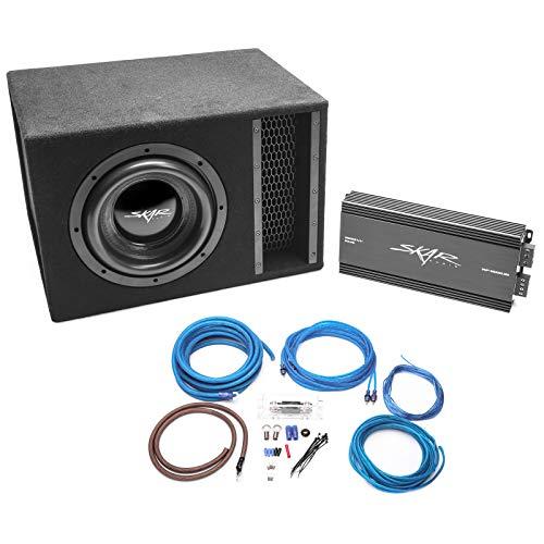Skar Audio Single 10″ Complete 2,000 Watt EVL Series Subwoofer Bass Package – Includes Loaded Enclosure with Amplifier