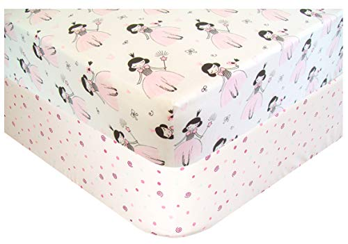 (Handywa - 100% Cotton Fitted Crib Sheets Set for Baby, Toddler Bed Mattress - Pink Princess & Polka-Dot (2 Pack) - White Color for Girl Nursery - Soft, Breathable, Hypoallergenic)