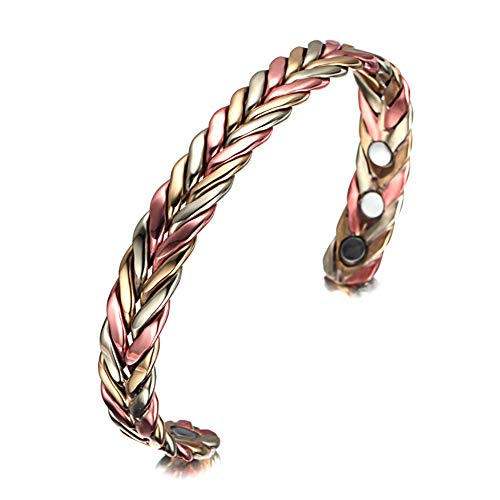 - ZSML Copper Bracelets for Men Women for Arthritis with 6 Magnets Wollet Jewelry 6.5'' Magnetic Therapy Braided Cuff African Copper Bangle