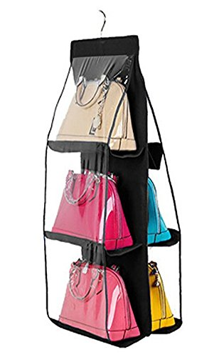 (6 Pockets Hanging Closet Organizer Clear Easy Accees Anti-dust Cover Handbag Purse Holder Storage Bag Collection Shoes Clothes Space Saver Bag with a Hanging Hook (Black))