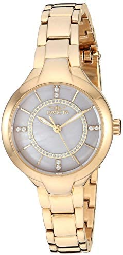 Invicta Women's Angel Quartz Watch with Stainless Steel Strap, Gold, 10.6 (Model: 29324)