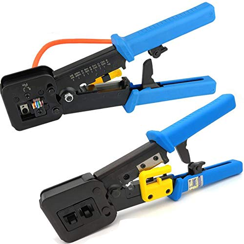 LETB Network Tool, Cable Tester Repair Tools Wire Stripping Cutter, Coax Crimper Plug Crimping, Punch Down RJ11 RJ45 Cat5 Cat6 Wire Data Detector Stripper, Professional for Testing Ethernet Internet