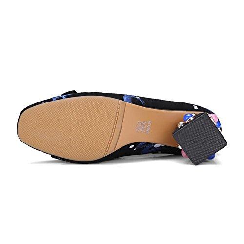 Nvxie Fiesta Corte Negro Señoras Medio Tacón Remache Zapatillas 40 uk Cuadrado eur35uk3 Bloquear Eur Zapatos Mujeres Blue Bajo Causal 7 rx7Cqwrv