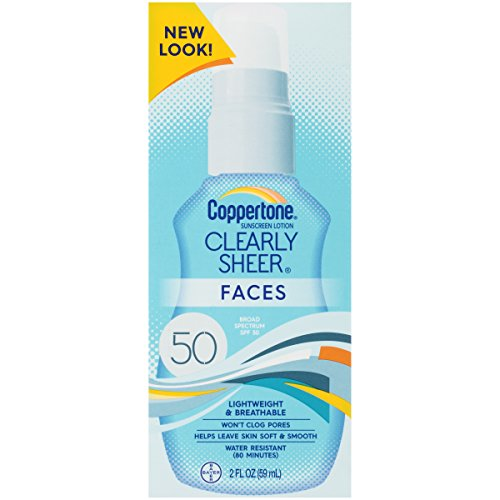 2 PACK COPPERTONE CLEARLY SHEER FACES SPF 50 Liightweight Wo