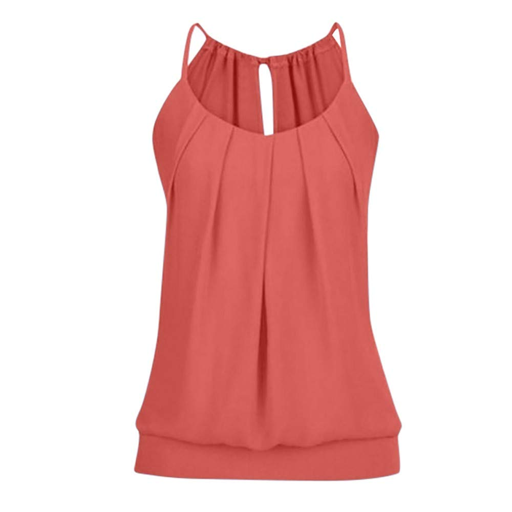 Women Summer Loose Sleeveless Wrinkled Cami O Neck Top Tank Knit Gloves Vest Blouse Scoop Neck Red