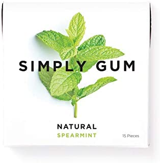 product image for Simply Gum | Natural Chewing Gum | Spearmint | 1 Pack (15 Pieces Total) | Plastic Free + Aspartame Free + non-GMO