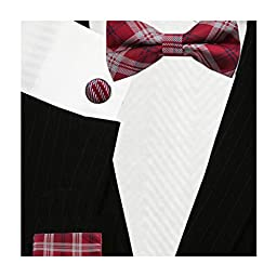 Maroon Red Plaid Skinny Ties | Tie Cufflinks and Pocket Square (Bow Tie + Hankerchief)