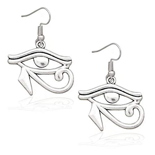 Joji Boutique Egyptian Collection: Antiqued Silver Eye of Horus Drop Earrings]()