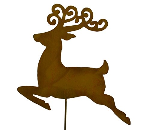 Reindeer Rustic Metal Yard Stake. Whimsical Christmas Decoration Idea. Handcrafted by Oregardenworks in the USA!