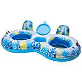 Big Sky Inflatable Pool Floats with Cooler For 2 Adults - Two Person Water Float with Built-In Coolers and Cup Holders - Blow-Up Family Inner Tubes for Lake, Beach, or Boats - Floating Tube
