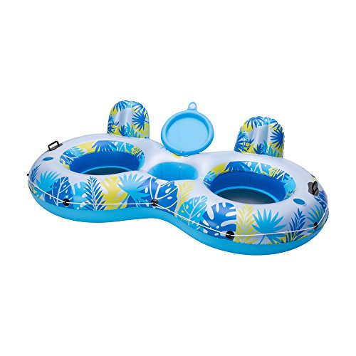 Big Sky Inflatable Pool Floats with Cooler for 2 Adults - Two Person Water Float with Built-in Coolers and Cup Holders - Blow-Up Family Inner Tubes for Lake, Beach, or Boats - Floating Tube -  WSP200_047G