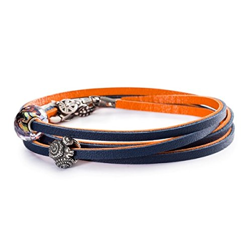 Trollbeads Leather Bracelet, Orange/Navy - TLEBR-00044