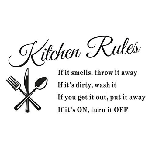 SJINC Newest Hot Sale Hot Removable Kitchen Rules Words Wall