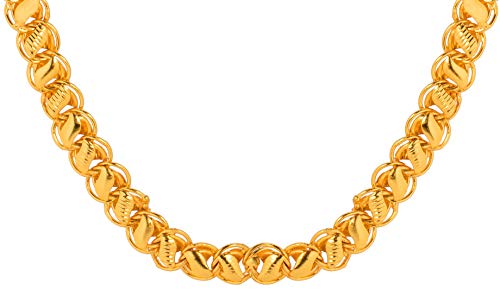 AanyaCentric Gold Plated 20 inches 25 grams Handmade Lotus Necklace Neck Chain Fashion Jewellery Set Imitation Brass Alloy Chains Mala for Men Women Girls Boys (Golden)