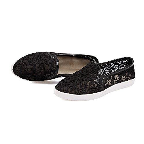 Amoonyfashion Womens Pull On Bout Fermé Fermé Talons Bas Mélange Matériaux Solides Pompes-chaussures Noir