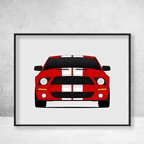 Shelby GT500 S197 Ford Mustang Cobra (2007-2009) Poster Print Wall Art Decor Handmade Carroll Shelby ()