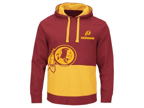 Majestic Washington Redskins Adult Size Small NFL Authentic Coin Toss Hoodie Hooded Pullover Sweatshirt - Burgandy & Gold