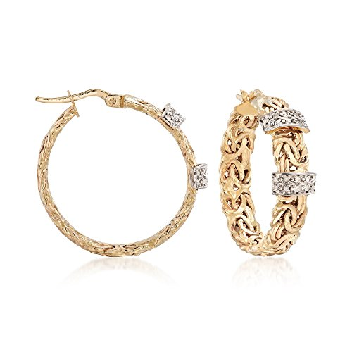 Byzantine Diamond Earrings - Ross-Simons 0.26 ct. t.w. Diamond Byzantine Hoop Earrings in 14kt Yellow Gold
