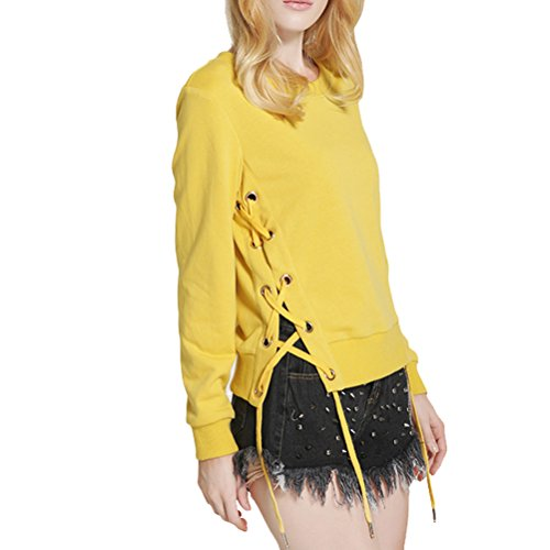 Laixing Womens Moda Sweaters Long sleeved Casual Round Collar Sweaters Tops Outwear Orange