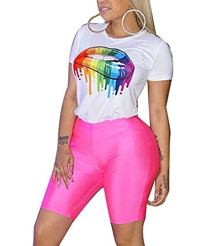 2 Piece Casual Jumpsuit for Women Short Sleeve Lips Crop Top+ Striped Pants with Pocket Jumpsuit Sweatsuit