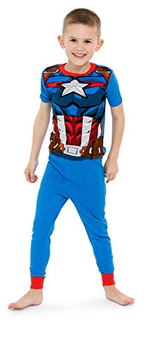 Marvel Little Boys' Avengers 4-Piece Cotton Pajama Set, Heroically Red/Blue, 6 ()